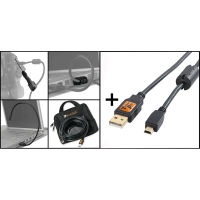 Tether Tools Starter Tethering Kit: USB2 A/Mini-B Kabel 15' BLK