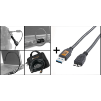 Tether Tools Starter Tethering Kit: USB3 A/MicroB Kabel 15' BLK